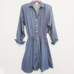 {Vintage} Button up Blue Jean Dress Size Small